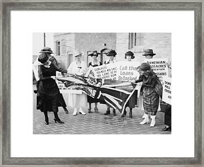A Group Of Irish-american Women Tearing Framed Print by Everett