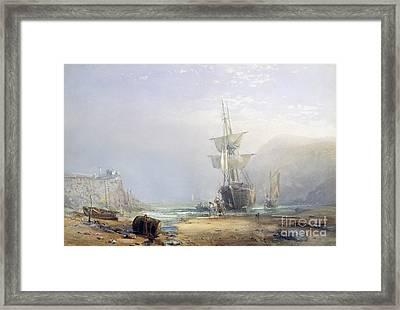 A Hazy Morning On The Coast Of Devon Framed Print by Samuel Phillips Jackson