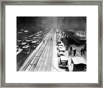 A Heavy Snowfall, 42nd Street, Looking Framed Print by Everett