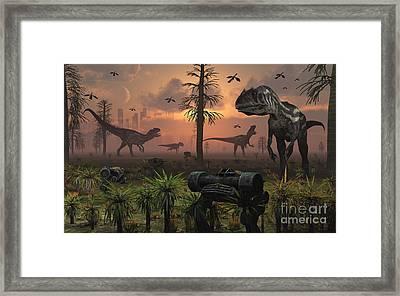 A Herd Of Allosaurus Dinosaur Cause Framed Print by Mark Stevenson