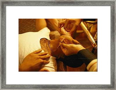 A Heroin Addict Receives An Injection Framed Print by Steve Raymer