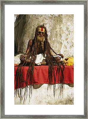 A Hindu Holy Man With Streaming Framed Print by Michael Melford