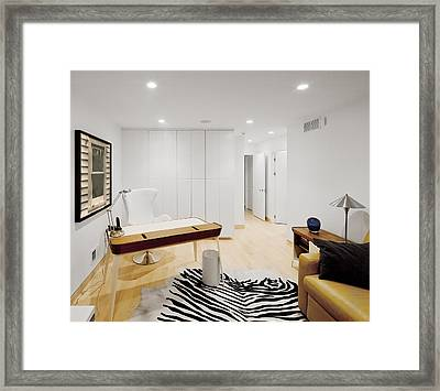 A Home Office. A Black And White Zebra Framed Print by Christian Scully