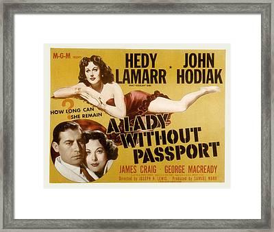 A Lady Without Passport, John Hodiak Framed Print by Everett