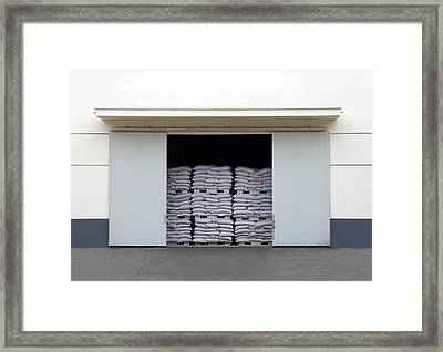 A Large Warehouse Entrance. Blocked Framed Print by Guang Ho Zhu