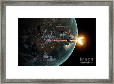 A Laser Anti-asteroid Defense System Framed Print by Frieso Hoevelkamp
