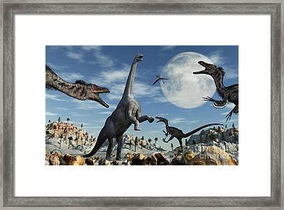 A Lone Camarasaurus Dinosaur Framed Print by Mark Stevenson