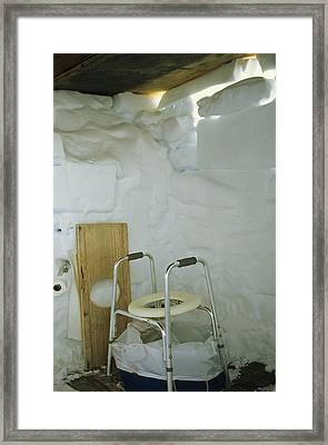 A Makeshift Bathroom Is Set Framed Print by Gordon Wiltsie