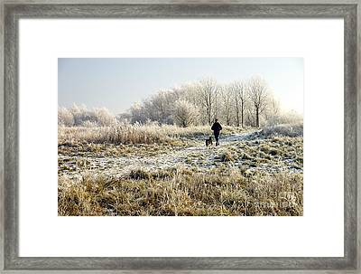 A Man And His Dog Framed Print by John Chatterley