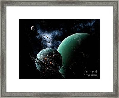 A Massive Space Station Orbits A Large Framed Print by Brian Christensen