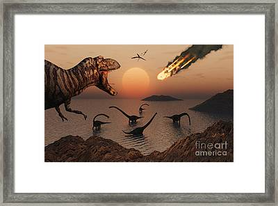 A Mighty T. Rex Roars From Overhead Framed Print by Mark Stevenson
