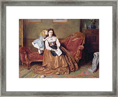 A Mother's Darling Framed Print by George Goodwin Kilburne