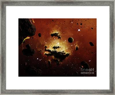 A Nebula Evaporates In The Far Distance Framed Print by Brian Christensen