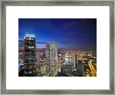 A Night Scene Of The Skyline Framed Print by Justin Guariglia