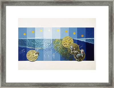 A Painting Depicts The Tiny Life Framed Print by Davis Meltzer