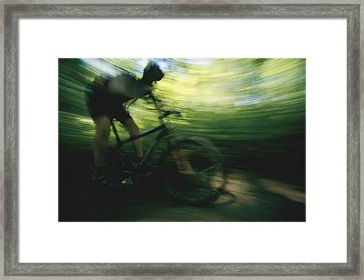 A Panned Shot Shows Someone Mountain Framed Print by Stephen Alvarez