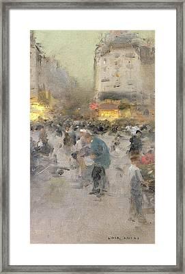 A Paris Street Scene Framed Print by  Luigi Loir