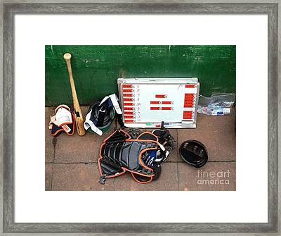A Peak Into The Dugout During A Baseball Game Framed Print by Yali Shi