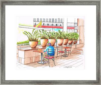 A Quiet Moment In The Mall Framed Print by Carlos G Groppa
