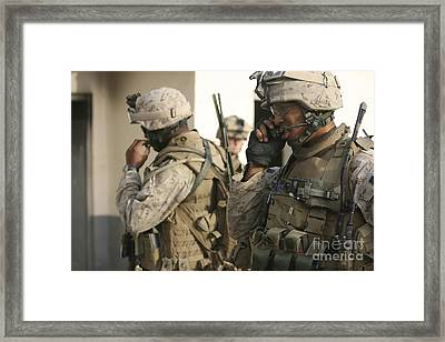 A Radio Operator Helps A Platoon Framed Print by Stocktrek Images