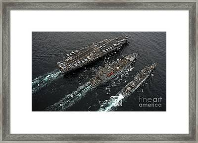 A Replenishment At Sea Between Uss Framed Print by Stocktrek Images