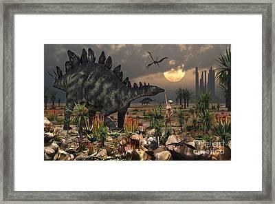 A Reptoid Being And A Stegosaurus Framed Print by Mark Stevenson