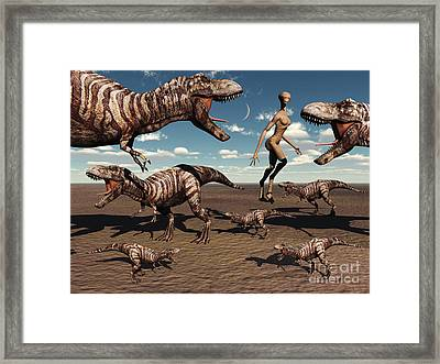 A Reptoid Being And Her Pet Dinosaurs Framed Print by Mark Stevenson