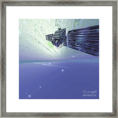 A Satellite Out In The Vast Beautiful Framed Print by Corey Ford