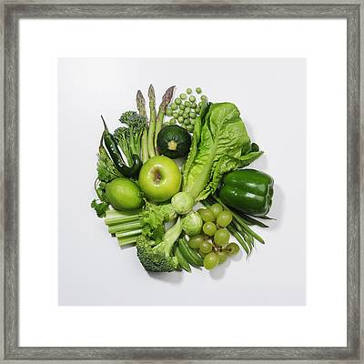 A Selection Of Green Fruits & Vegetables Framed Print by David Malan