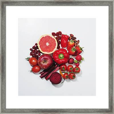 A Selection Of Red Fruits & Vegetables Framed Print by David Malan