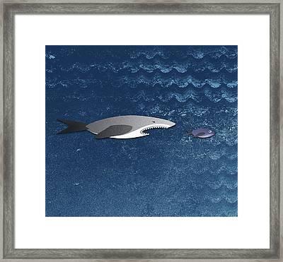 A Shark Chasing A Smaller Fish Framed Print by Jutta Kuss
