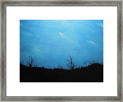 A Shooting Star In An Azure Sky Framed Print by Dan Whittemore