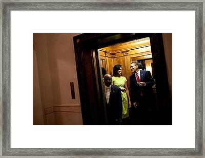 A Smiling President Obama Holds Framed Print by Everett