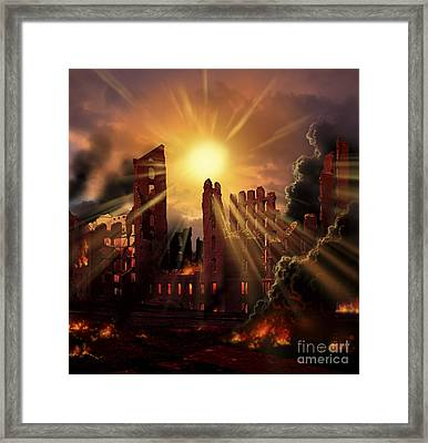 A Solar Flare, An Enormous Eruption Framed Print by Ron Miller