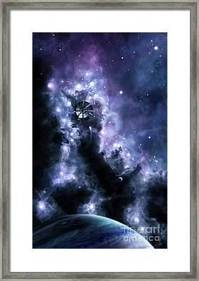 A Solar Sail Appears From The Dusty Framed Print by Brian Christensen
