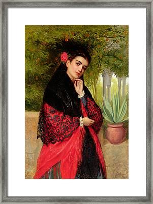 A Spanish Beauty Framed Print by John-Bagnold Burgess