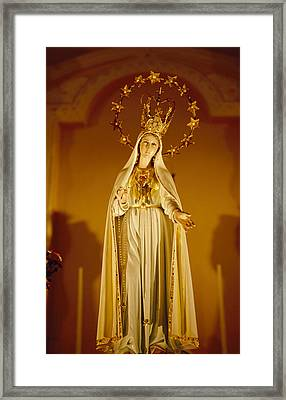 A Statue Of The Virgin Mary Framed Print by Justin Guariglia