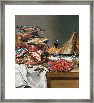 A Still Life Of A Fish Trout And Baby Lobsters Framed Print by Anton Friedrich Harms
