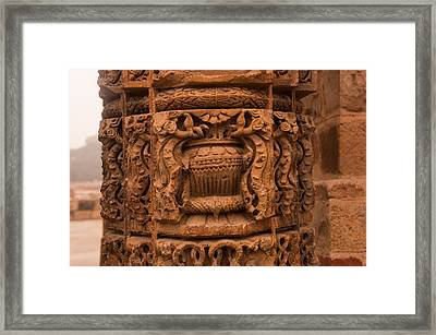 A Stone Pillar With Beautiful Carvings Inside The Qutub Minar Complex Framed Print by Ashish Agarwal