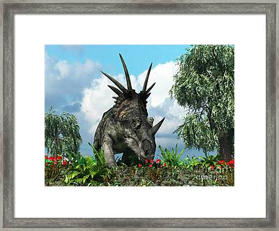 A Styracosaurus Samples Flowers Framed Print by Walter Myers