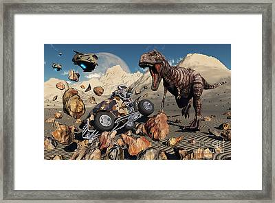 A Team Of Time Travelling Explorers Try Framed Print by Mark Stevenson