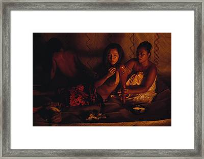 A Topless Tahitian Dancer Is Annointed Framed Print by Gordon Gahan