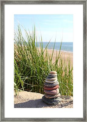 A Tower Of Stones On The Dune Framed Print by Holger Ostwald