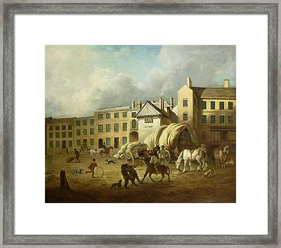 A Town Scene  Framed Print by George Garrard