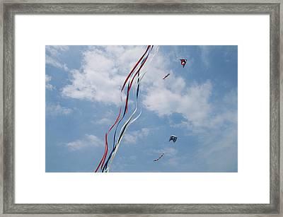 A Train Of Kites Flies At The Jockeys Framed Print by Stephen Alvarez