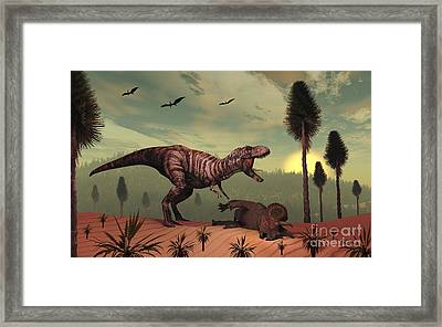 A Triceratops Falls Victim Framed Print by Mark Stevenson