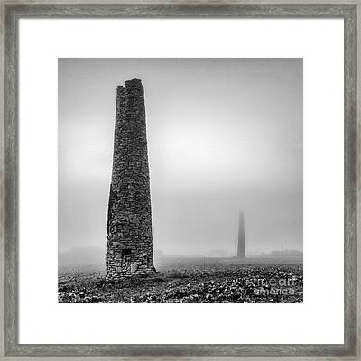 A Twin Cornish Mine Chimneys Framed Print by John Farnan