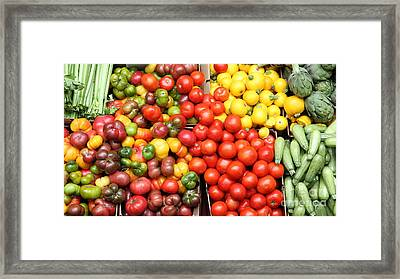 A Variety Of Fresh Tomatoes Artichokes And Celeries - 5d17901-long Framed Print by Wingsdomain Art and Photography