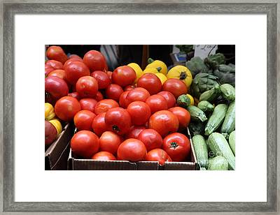 A Variety Of Fresh Tomatoes Zucchinis And Artichokes - 5d17818 Framed Print by Wingsdomain Art and Photography