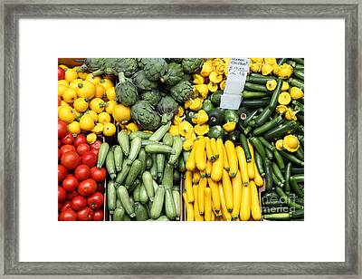 A Variety Of Fresh Tomatoes Zucchinis And Artichokes - 5d17902 Framed Print by Wingsdomain Art and Photography